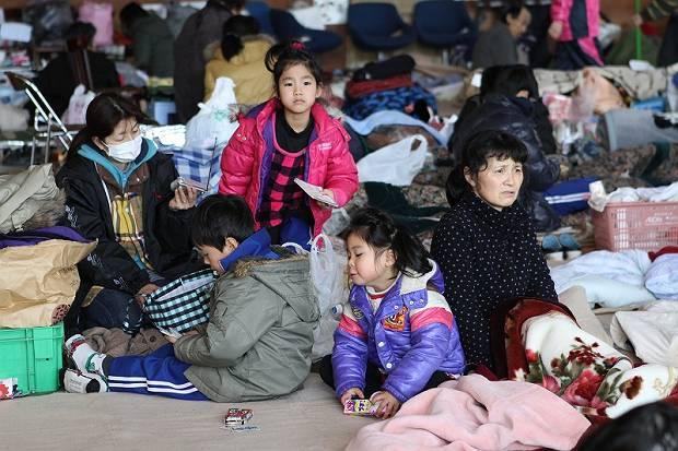 Inside an evacuation centre