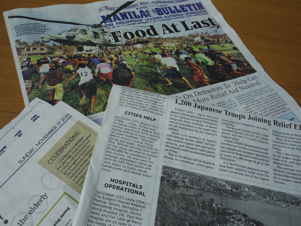 Headlines in local newspapers